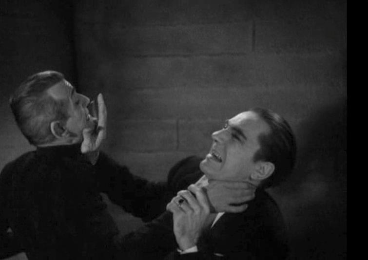 Karloff and Lugosi hand fight