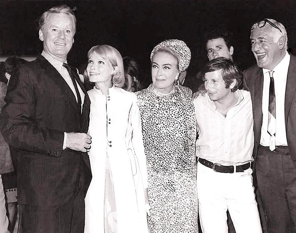 Van Johnson Mia Farrow Joan Crawford Roman Polanski William Castle+premiere of Strait-Jacket 1964)