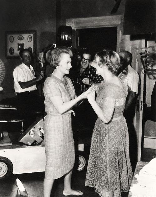 Davis and de Havilland on the set Hush Hush Sweet Charlotte