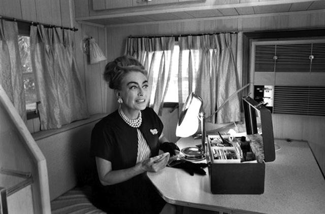 Joan in her trailer set of Hush
