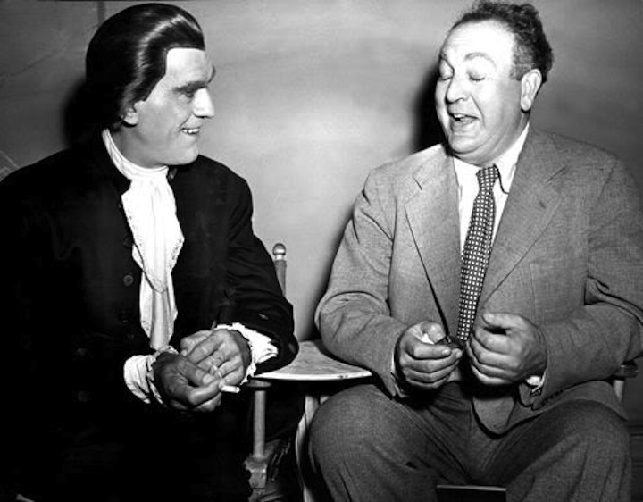 Val Lewton with Boris Karloff set of Bedlam