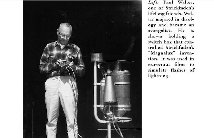 Paul Walter assistant holds the switch box that controlls Strickfaden's Magnalux invention for lighting simulating flashes
