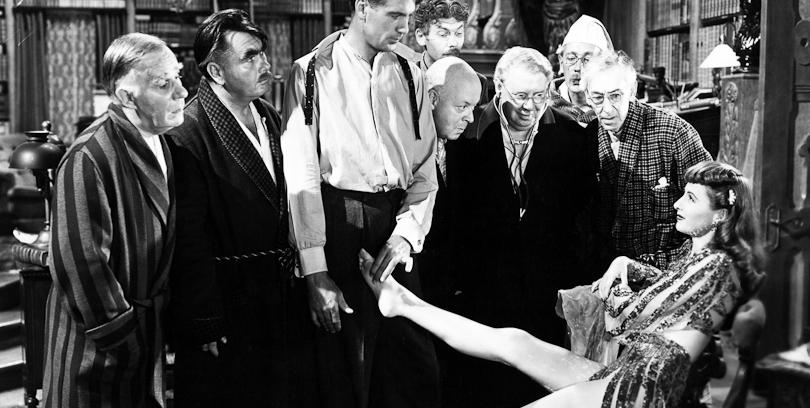 Ball of Fire (1941) Directed by Howard Hawks Shown: Henry Travers, Oscar Homolka, Gary Cooper, Leonid Kinskey, Aubrey Mather, S.Z. Sakall, Richard Haydn, Tully Marshall, Barbara Stanwyck