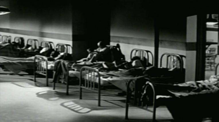 Noir shot of asylum beds