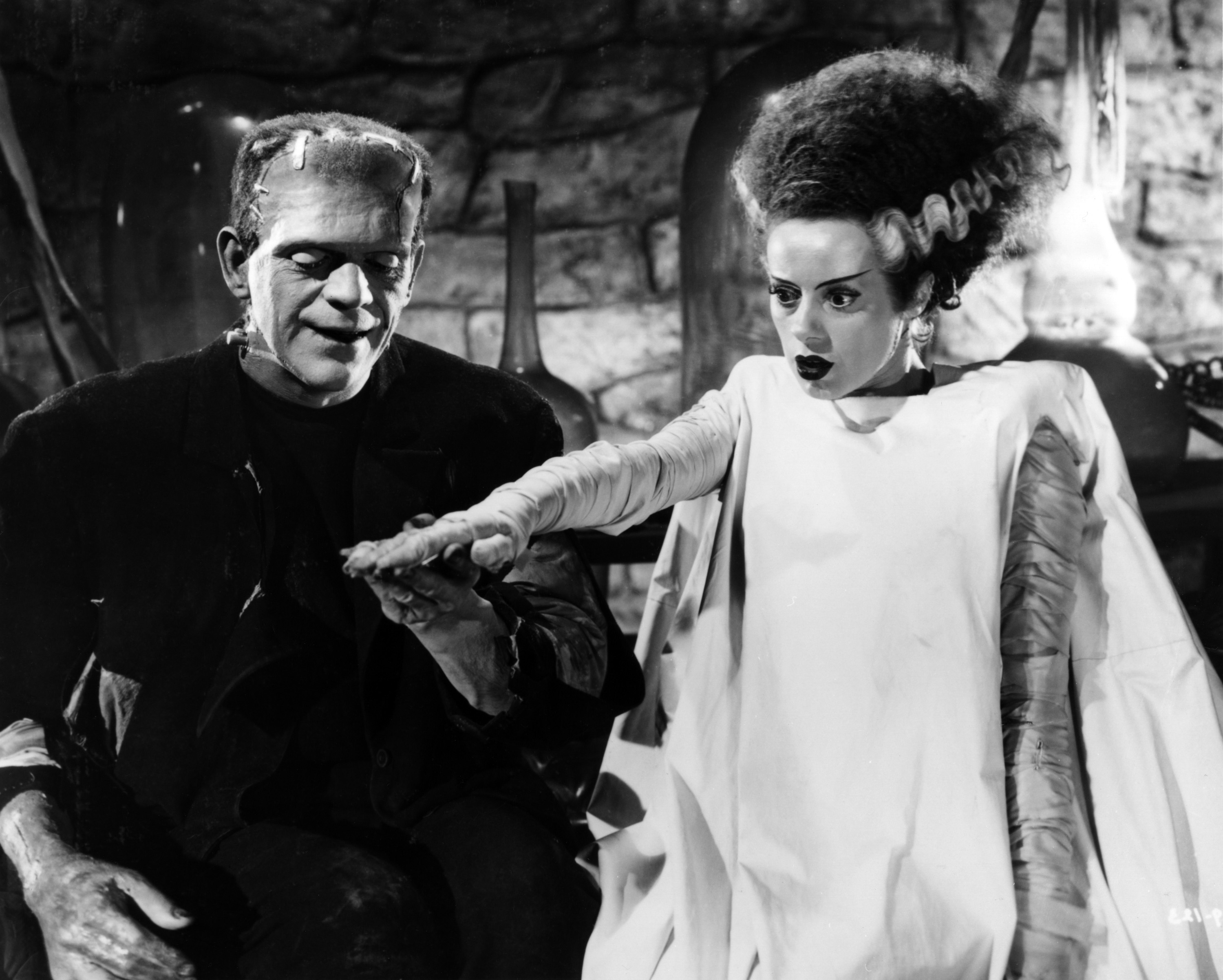 """The Academy of Motion Picture Arts and Sciences will host a month-long series of screenings of classic horror films with """"Universal's Legacy of Horror"""" in October. The series is part of the studio's year-long 100th anniversary celebration engaging Universal's fans and all movie lovers in the art of moviemaking. Pictured: Boris Karloff and Elsa Lanchester in BRIDE OF FRANKENSTEIN, 1935."""
