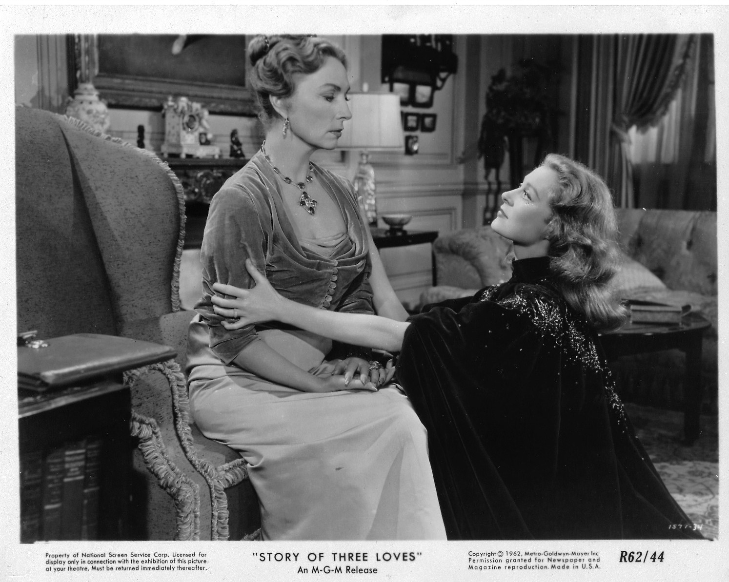 028-agnes-moorehead-theredlist-Agnes Moorehead with Moira Shearer in Story of Three Loves:The Jealous Lover directed by Gottfried Reinhardt, 1953