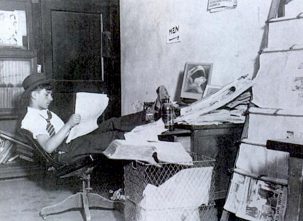 """1930 NYC """"Im a cocky crime reporter at the Graphic with a cluttered desk just around the corner from the men's room."""